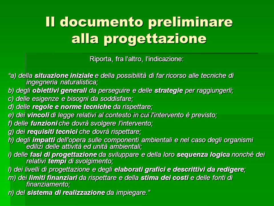 Il documento preliminare alla progettazione