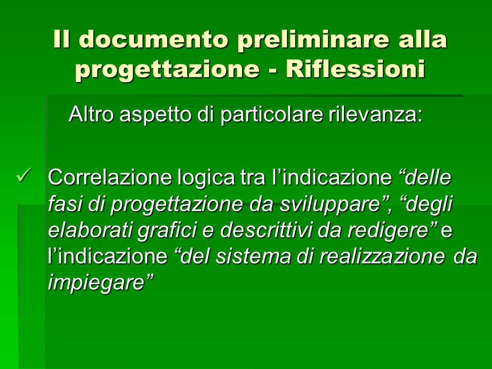 Il documento preliminare alla progettazione - Riflessioni