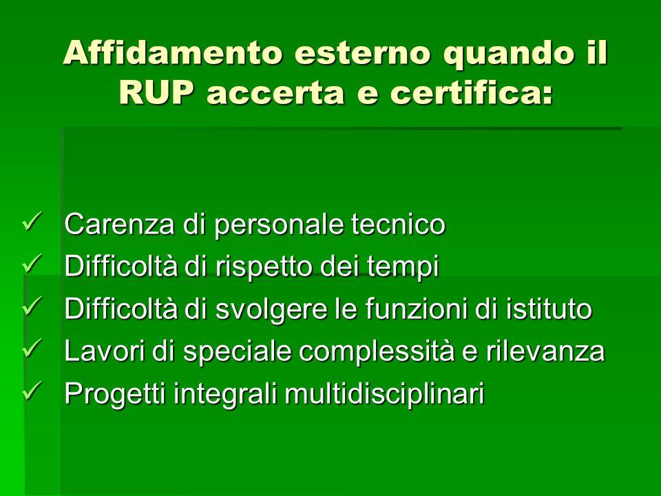 Affidamento esterno quando il RUP accerta e certifica: