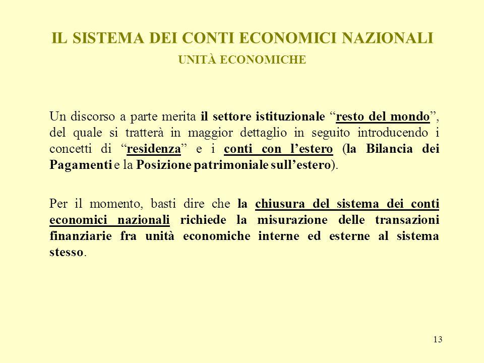 IL SISTEMA DEI CONTI ECONOMICI NAZIONALI UNITÀ ECONOMICHE