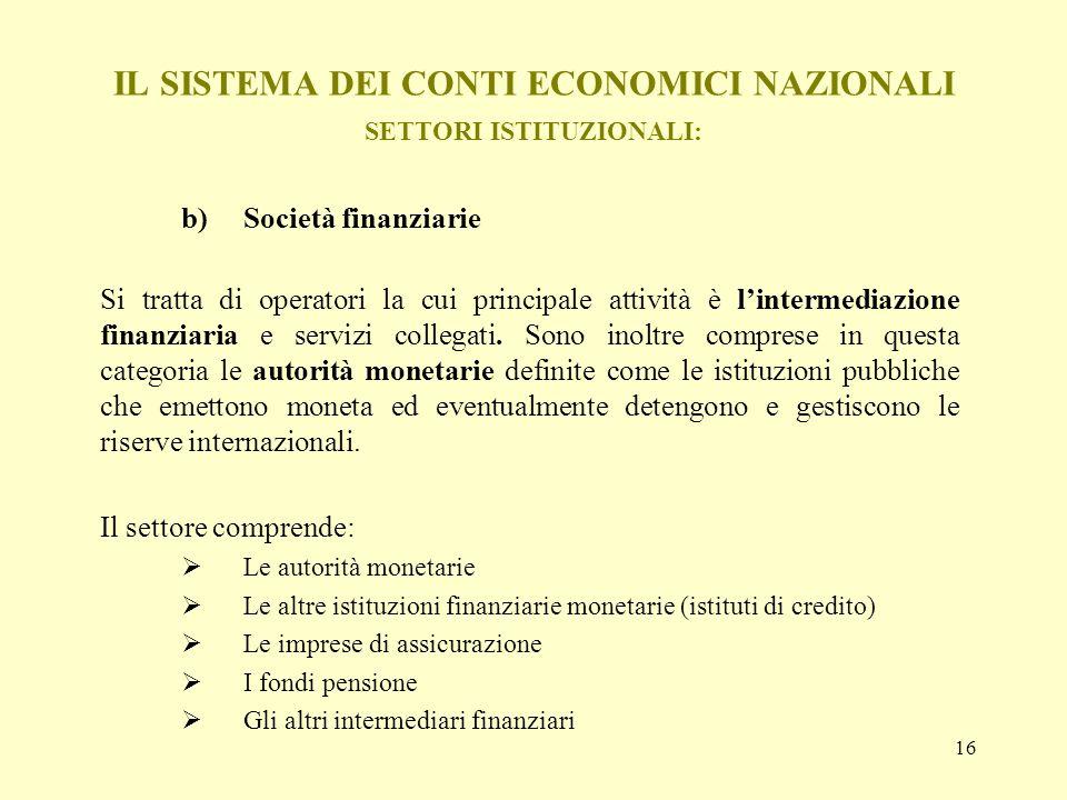 IL SISTEMA DEI CONTI ECONOMICI NAZIONALI SETTORI ISTITUZIONALI:
