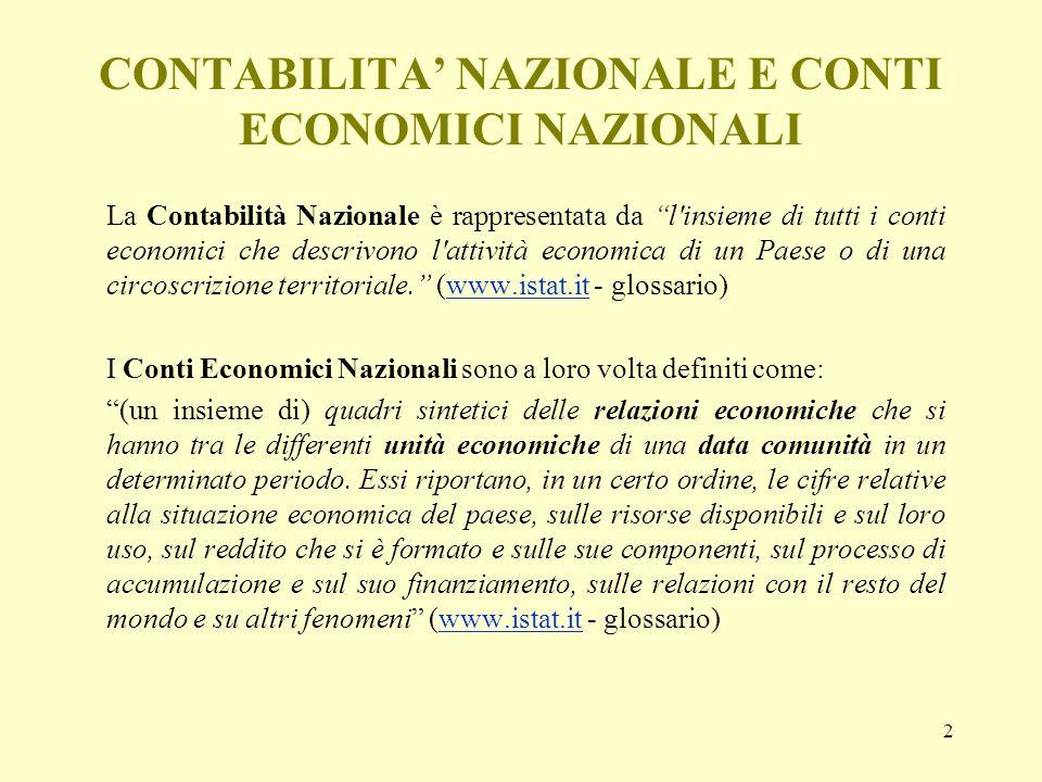 CONTABILITA' NAZIONALE E CONTI ECONOMICI NAZIONALI