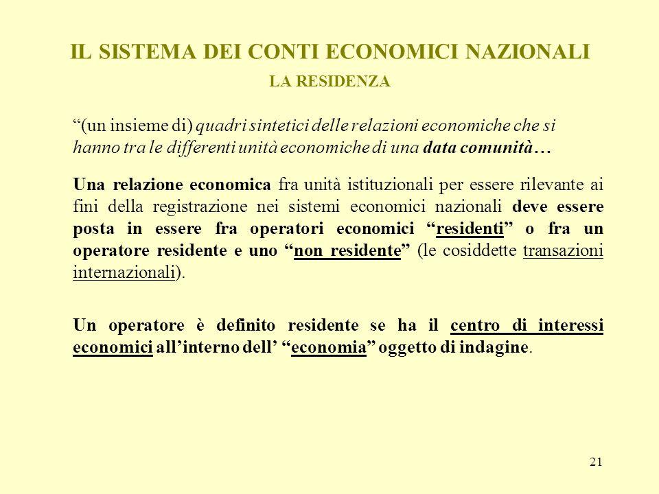 IL SISTEMA DEI CONTI ECONOMICI NAZIONALI LA RESIDENZA
