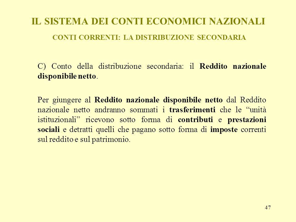 IL SISTEMA DEI CONTI ECONOMICI NAZIONALI CONTI CORRENTI: LA DISTRIBUZIONE SECONDARIA