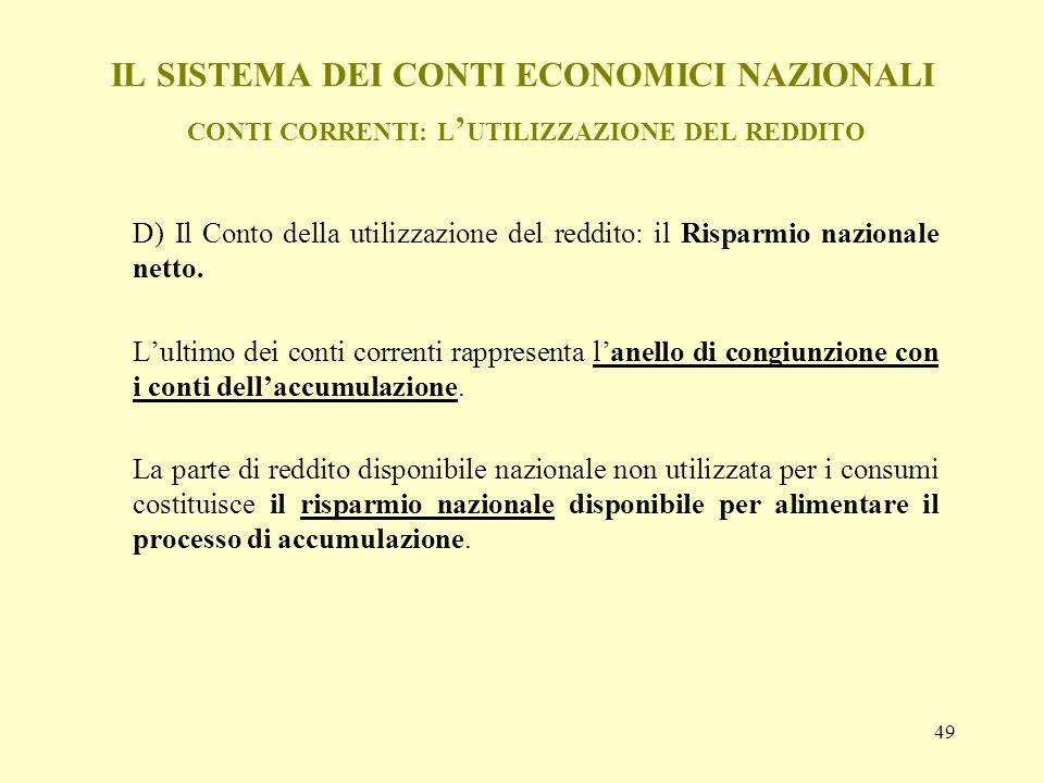 IL SISTEMA DEI CONTI ECONOMICI NAZIONALI CONTI CORRENTI: L'UTILIZZAZIONE DEL REDDITO