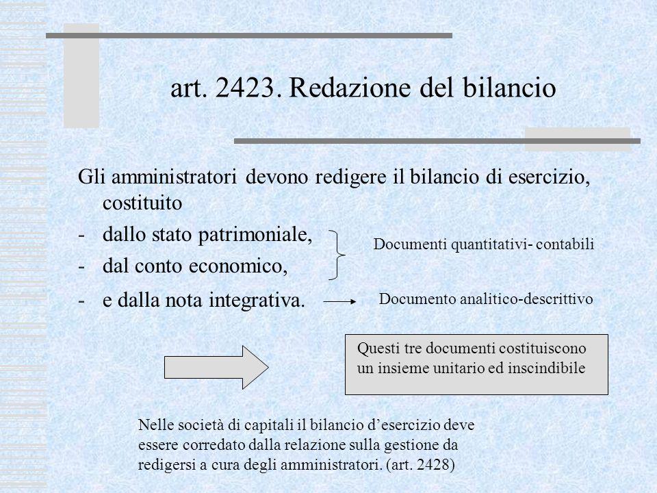 art. 2423. Redazione del bilancio