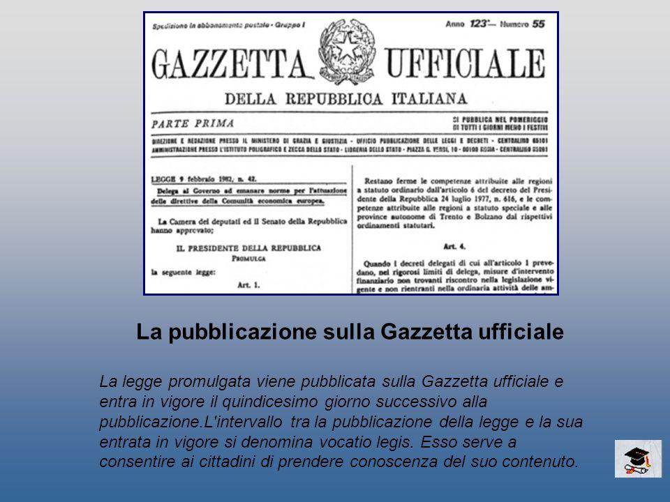La pubblicazione sulla Gazzetta ufficiale