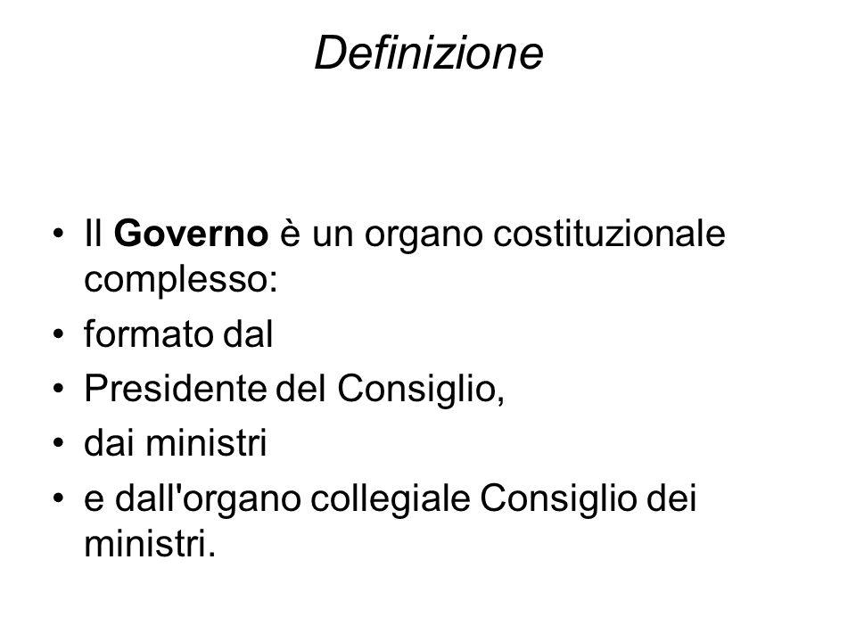 Definizione Il Governo è un organo costituzionale complesso: