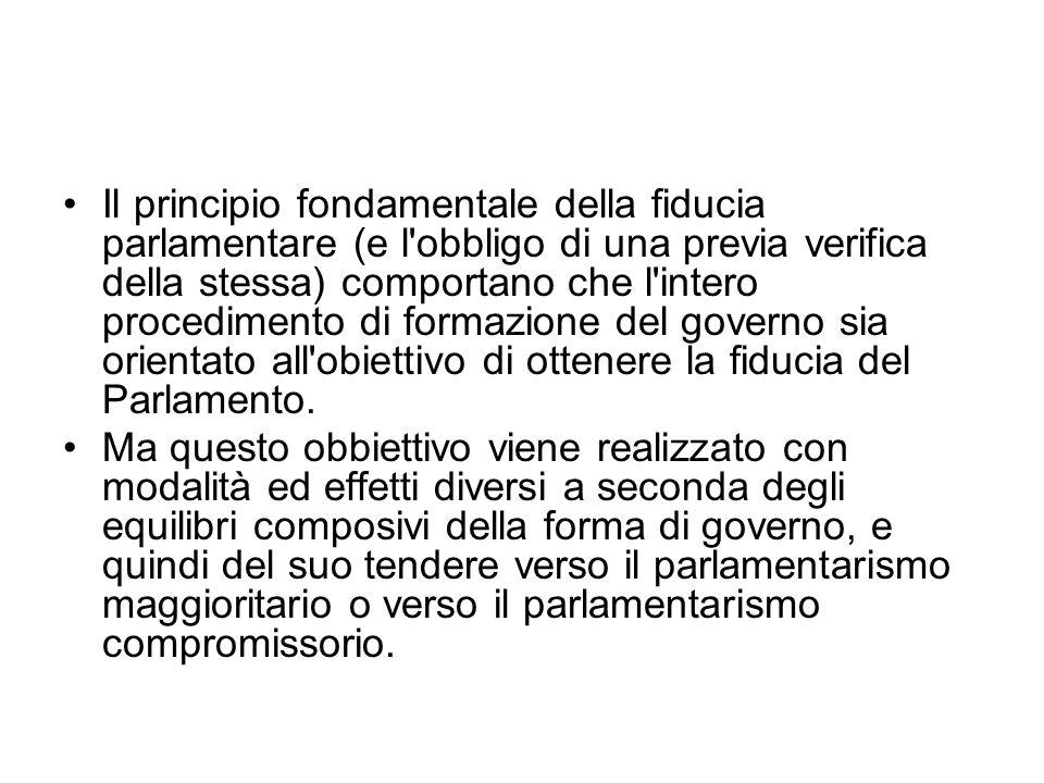 Il principio fondamentale della fiducia parlamentare (e l obbligo di una previa verifica della stessa) comportano che l intero procedimento di formazione del governo sia orientato all obiettivo di ottenere la fiducia del Parlamento.