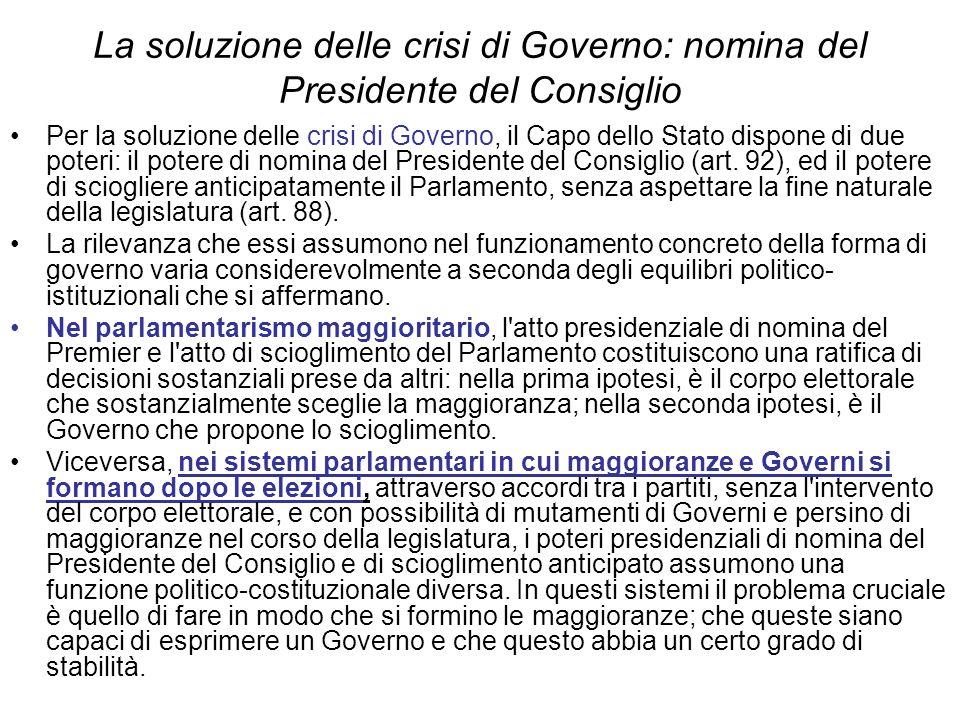 La soluzione delle crisi di Governo: nomina del Presidente del Consiglio