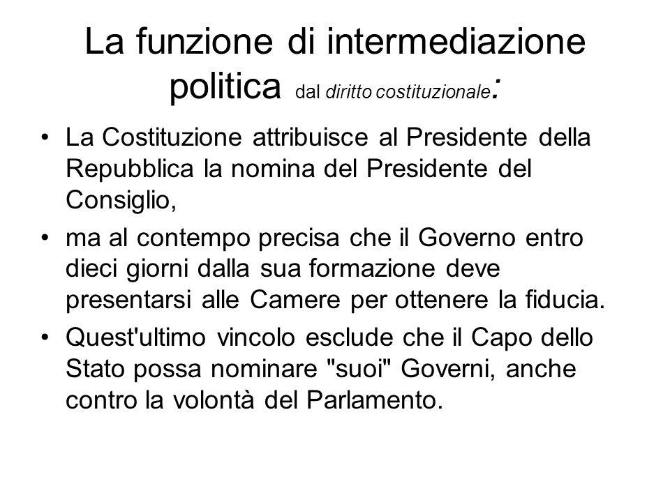 La funzione di intermediazione politica dal diritto costituzionale: