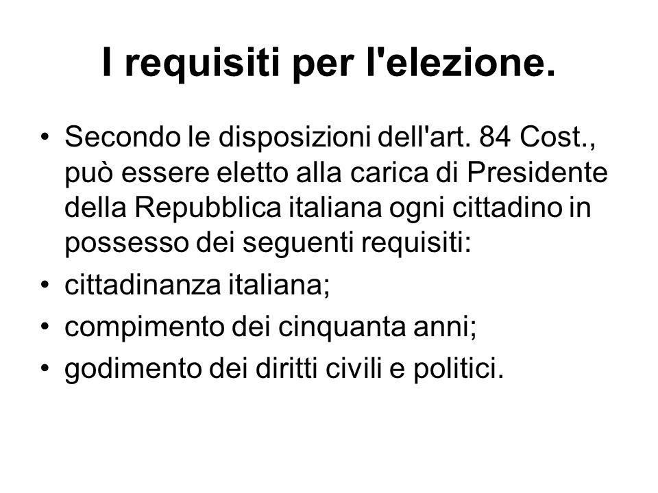 I requisiti per l elezione.
