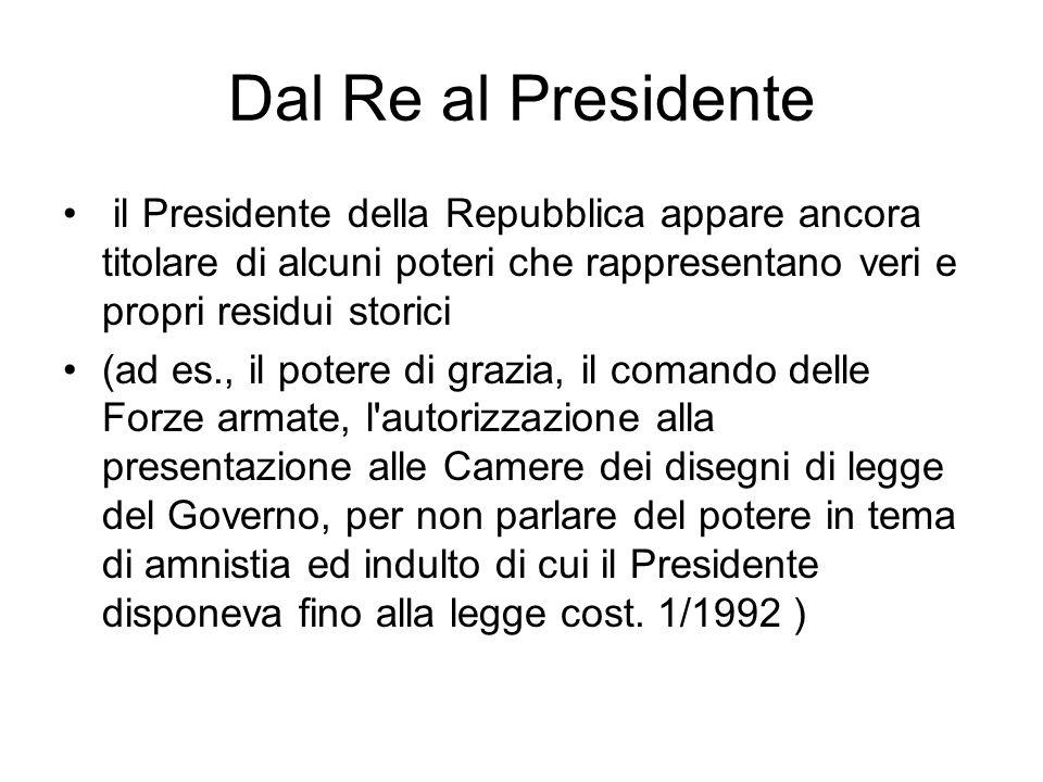 Dal Re al Presidente il Presidente della Repubblica appare ancora titolare di alcuni poteri che rappresentano veri e propri residui storici.
