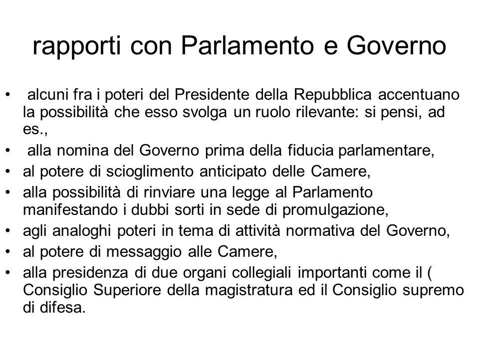 rapporti con Parlamento e Governo