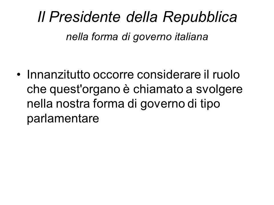 Il Presidente della Repubblica nella forma di governo italiana