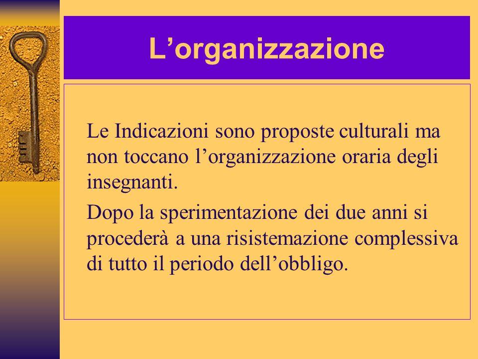L'organizzazioneLe Indicazioni sono proposte culturali ma non toccano l'organizzazione oraria degli insegnanti.
