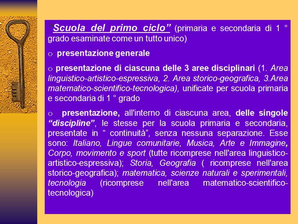 Scuola del primo ciclo (primaria e secondaria di 1 ° grado esaminate come un tutto unico)