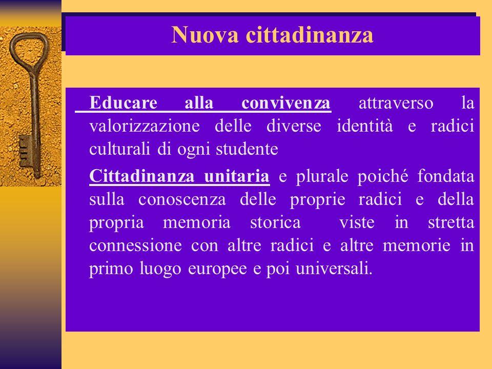Nuova cittadinanza Educare alla convivenza attraverso la valorizzazione delle diverse identità e radici culturali di ogni studente.