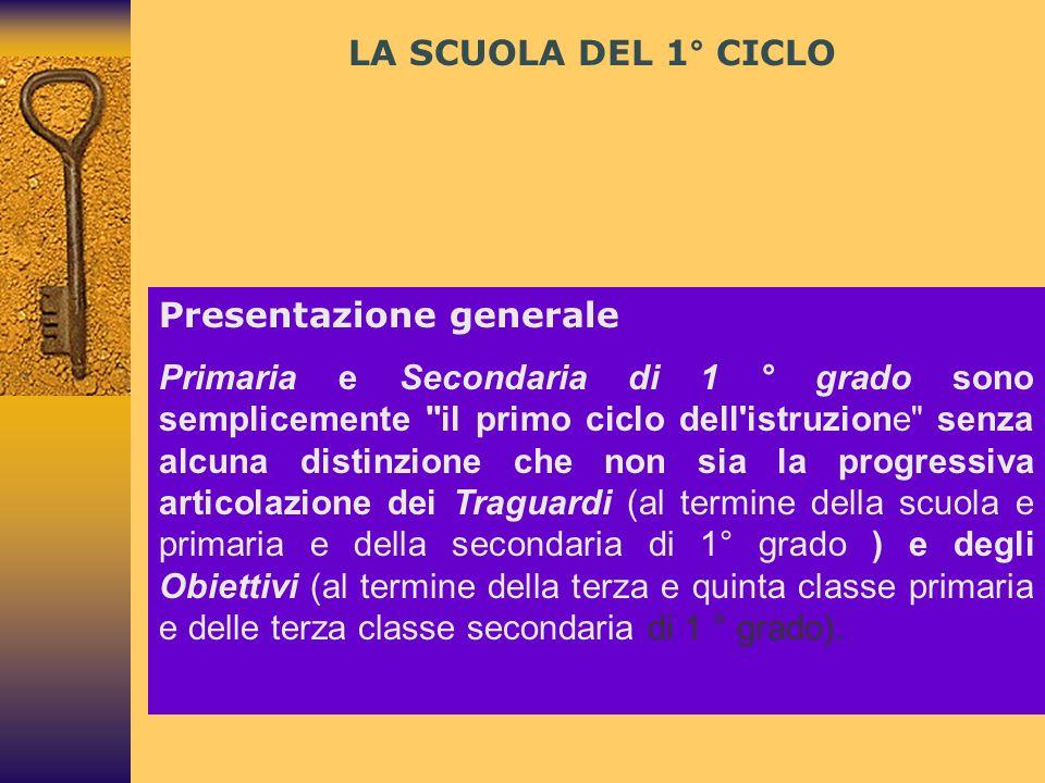 LA SCUOLA DEL 1° CICLO Presentazione generale.