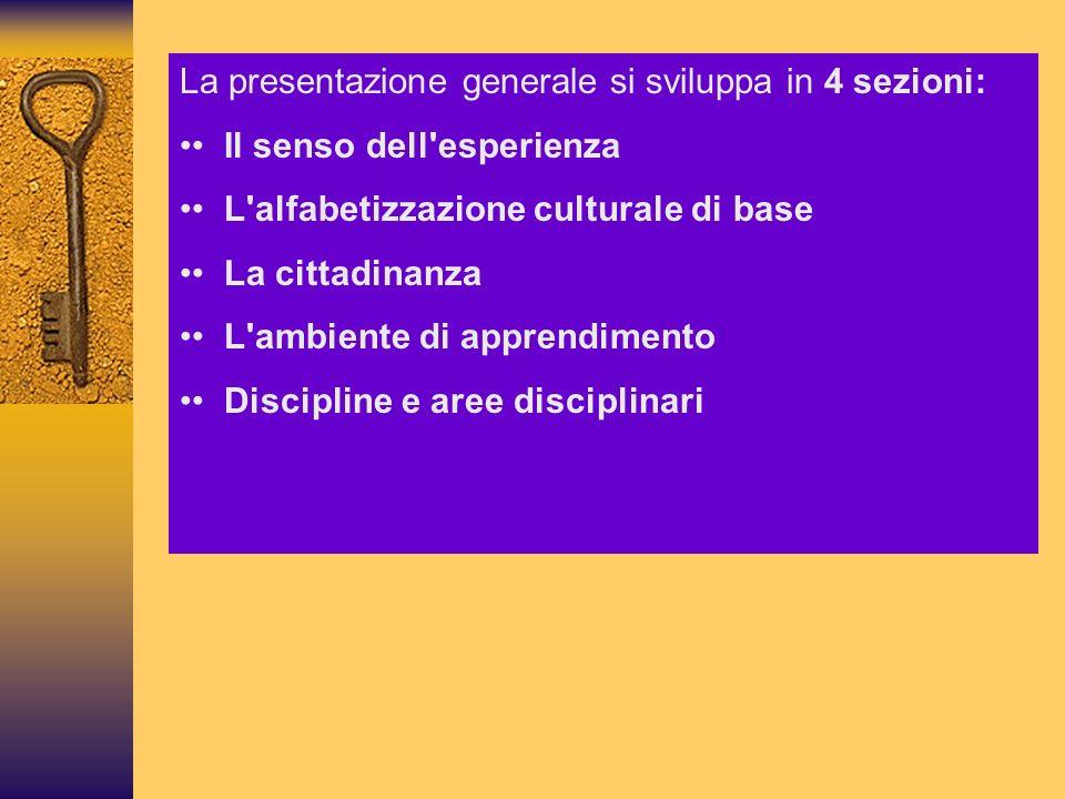 La presentazione generale si sviluppa in 4 sezioni: