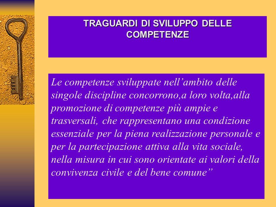 TRAGUARDI DI SVILUPPO DELLE COMPETENZE