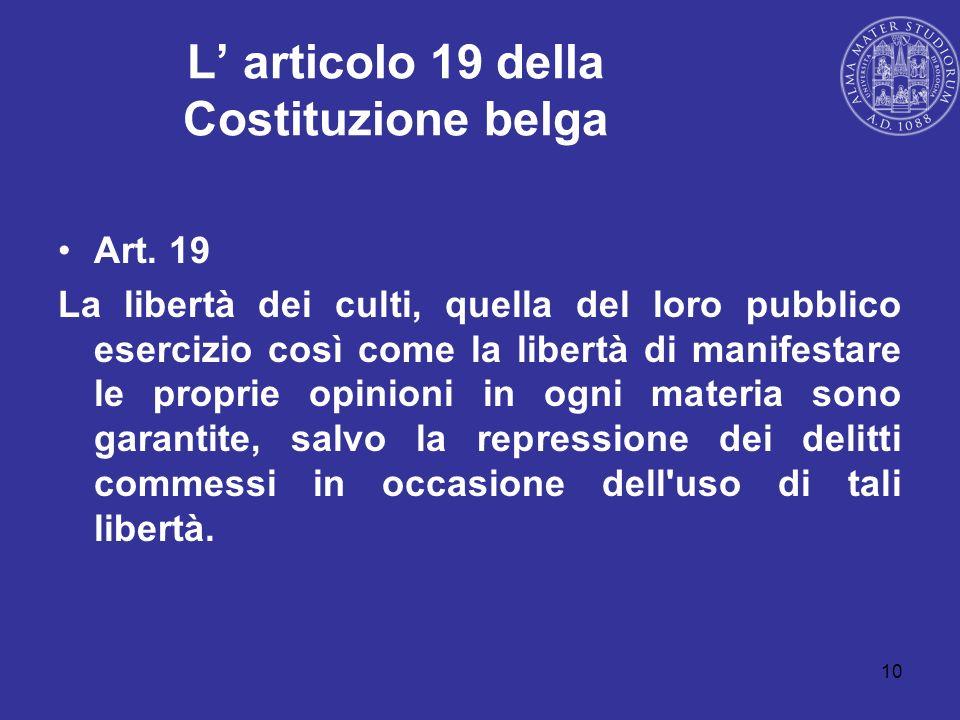 L' articolo 19 della Costituzione belga