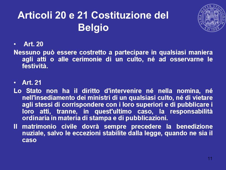 Articoli 20 e 21 Costituzione del Belgio