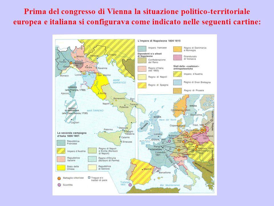 Prima del congresso di Vienna la situazione politico-territoriale