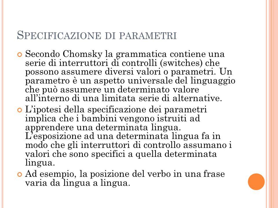 Specificazione di parametri