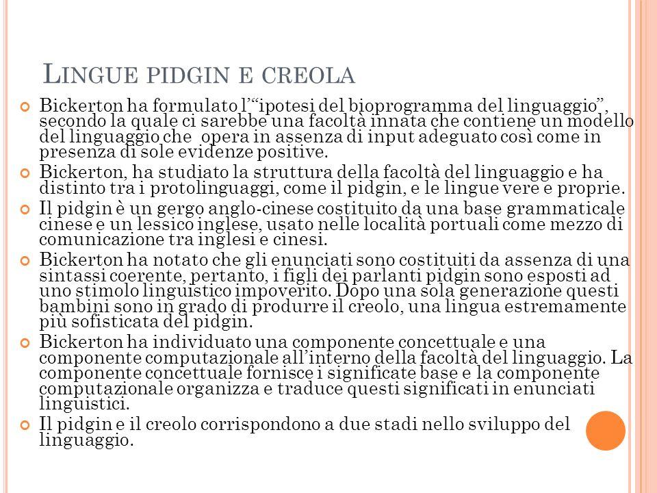 Lingue pidgin e creola
