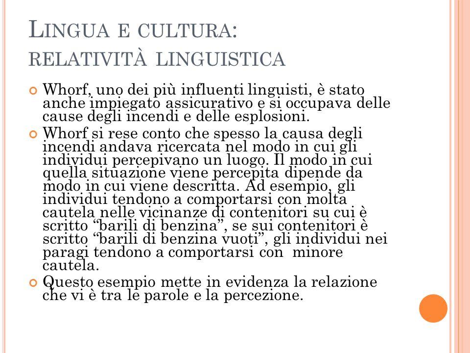 Lingua e cultura: relatività linguistica