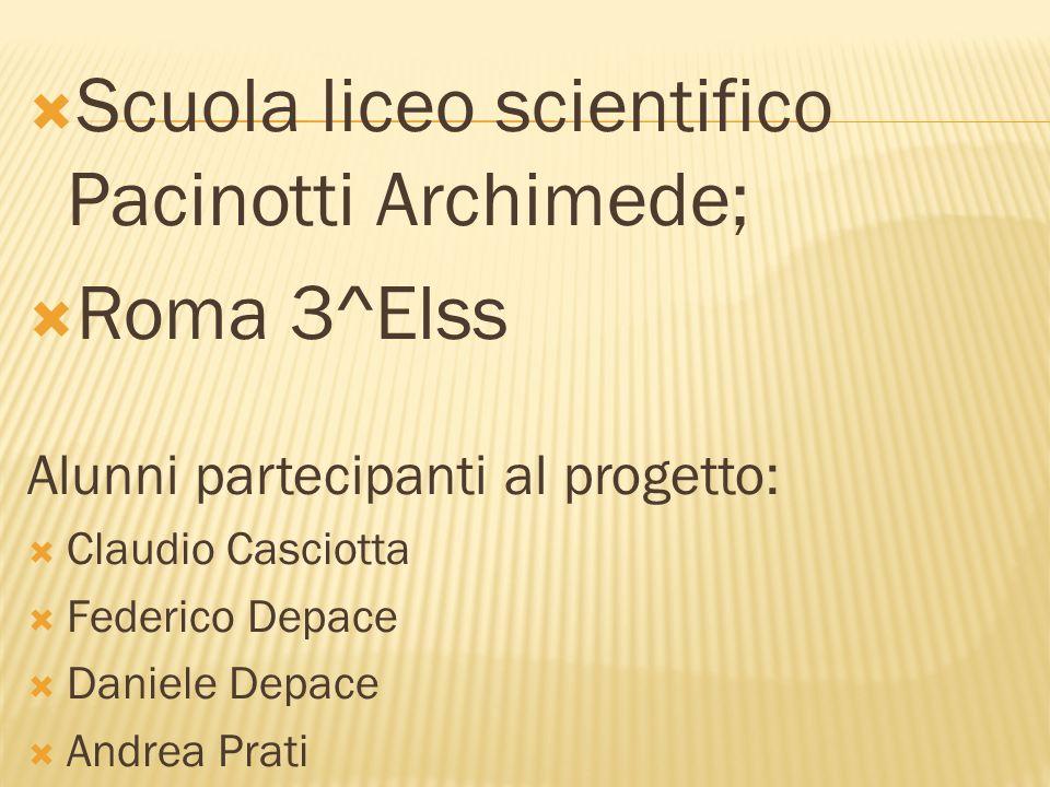 Scuola liceo scientifico Pacinotti Archimede; Roma 3^Elss