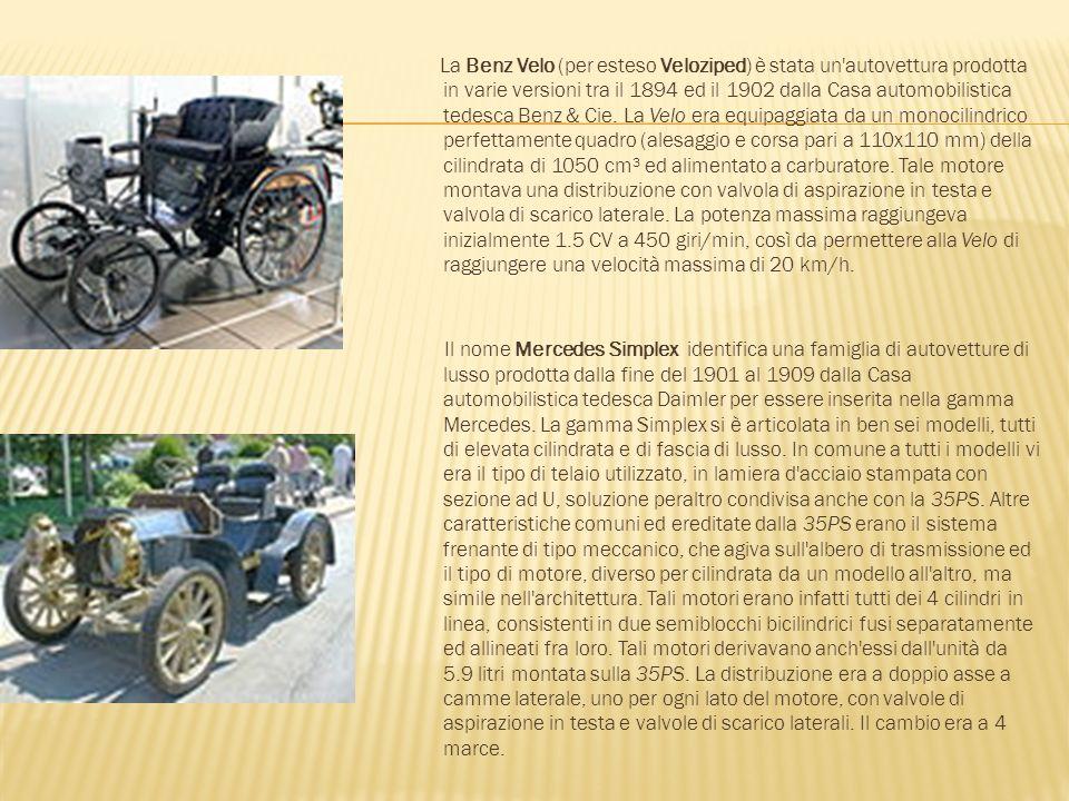 La Benz Velo (per esteso Veloziped) è stata un autovettura prodotta in varie versioni tra il 1894 ed il 1902 dalla Casa automobilistica tedesca Benz & Cie. La Velo era equipaggiata da un monocilindrico perfettamente quadro (alesaggio e corsa pari a 110x110 mm) della cilindrata di 1050 cm³ ed alimentato a carburatore. Tale motore montava una distribuzione con valvola di aspirazione in testa e valvola di scarico laterale. La potenza massima raggiungeva inizialmente 1.5 CV a 450 giri/min, così da permettere alla Velo di raggiungere una velocità massima di 20 km/h.
