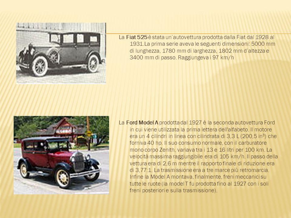 La Fiat 525 è stata un'autovettura prodotta dalla Fiat dal 1928 al 1931.La prima serie aveva le seguenti dimensioni: 5000 mm di lunghezza, 1780 mm di larghezza, 1802 mm d'altezza e 3400 mm di passo.