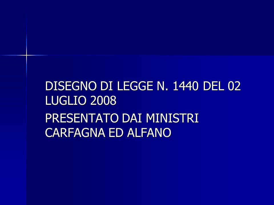 DISEGNO DI LEGGE N. 1440 DEL 02 LUGLIO 2008
