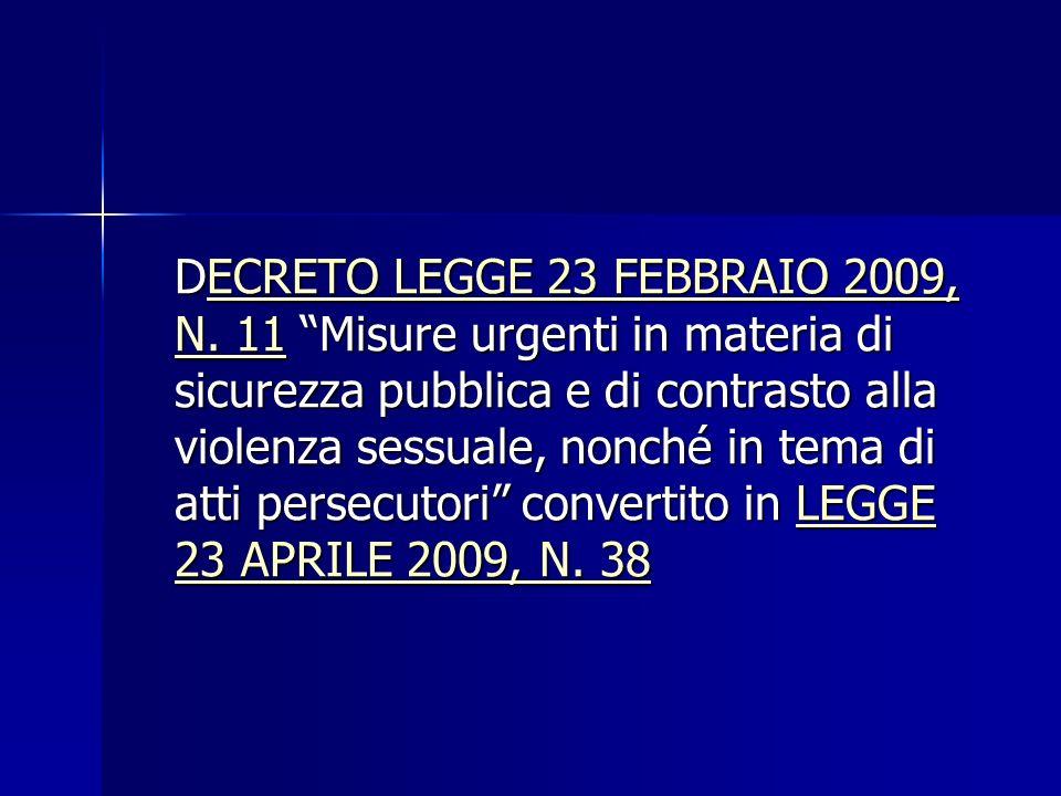 DECRETO LEGGE 23 FEBBRAIO 2009, N