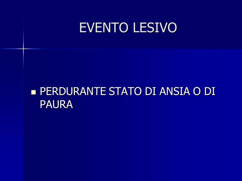 EVENTO LESIVO PERDURANTE STATO DI ANSIA O DI PAURA