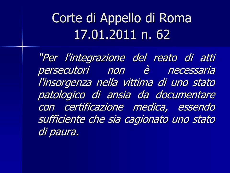 Corte di Appello di Roma 17.01.2011 n. 62