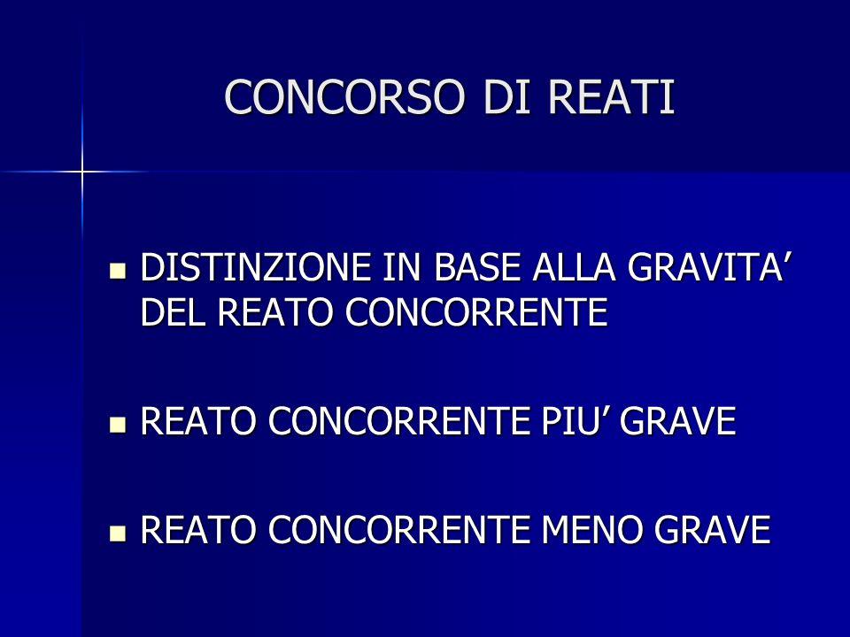 CONCORSO DI REATI DISTINZIONE IN BASE ALLA GRAVITA' DEL REATO CONCORRENTE. REATO CONCORRENTE PIU' GRAVE.