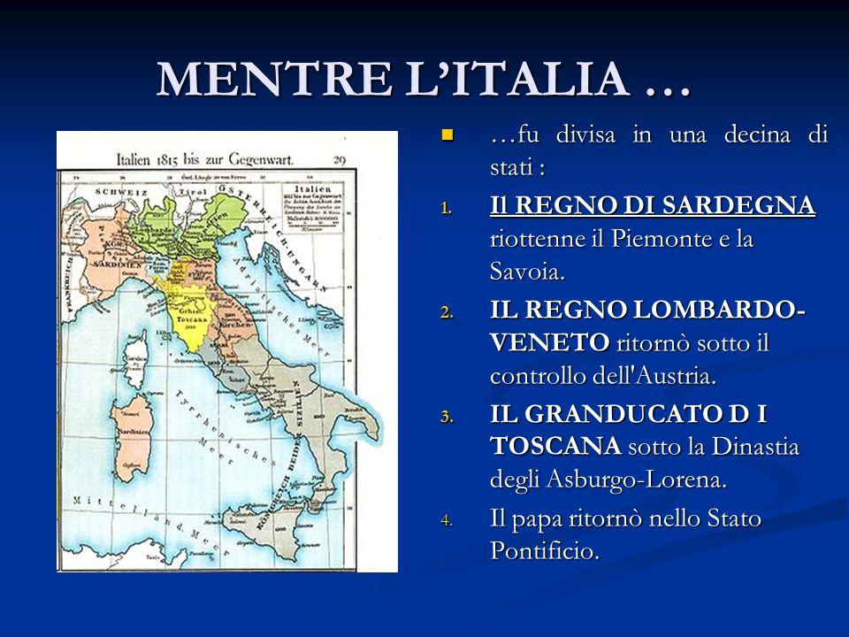 MENTRE L'ITALIA … …fu divisa in una decina di stati :