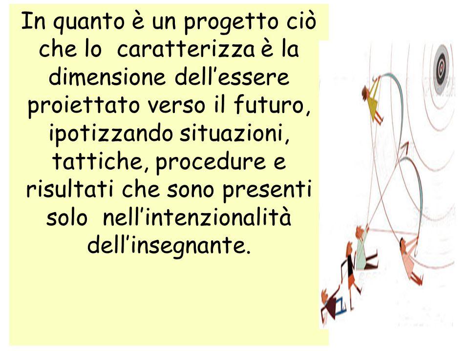 In quanto è un progetto ciò che lo caratterizza è la dimensione dell'essere proiettato verso il futuro, ipotizzando situazioni, tattiche, procedure e risultati che sono presenti solo nell'intenzionalità dell'insegnante.