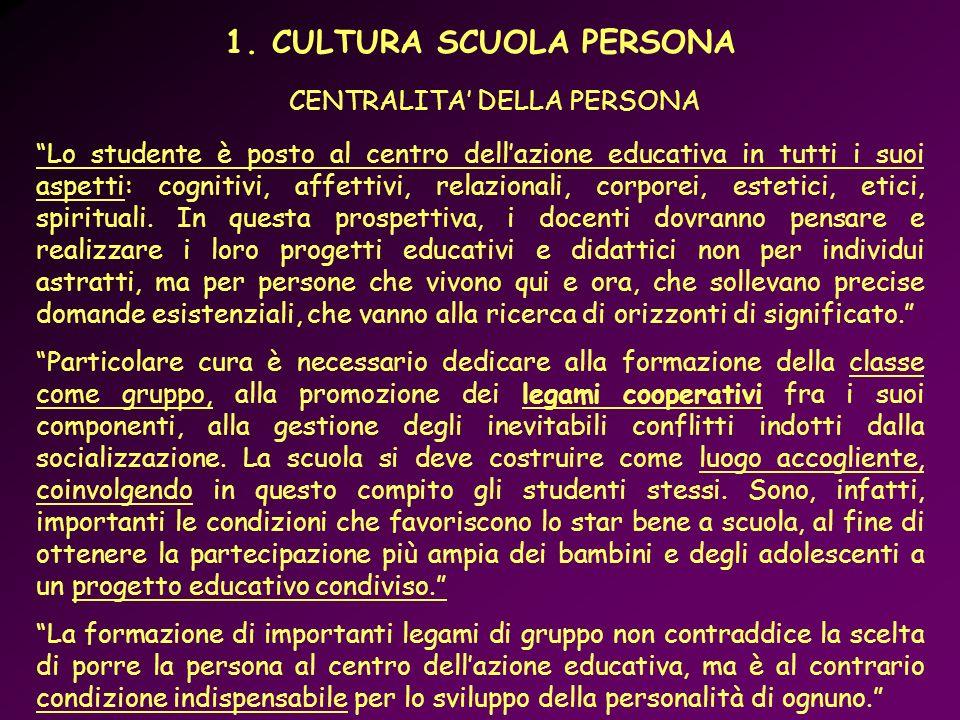 1. CULTURA SCUOLA PERSONA
