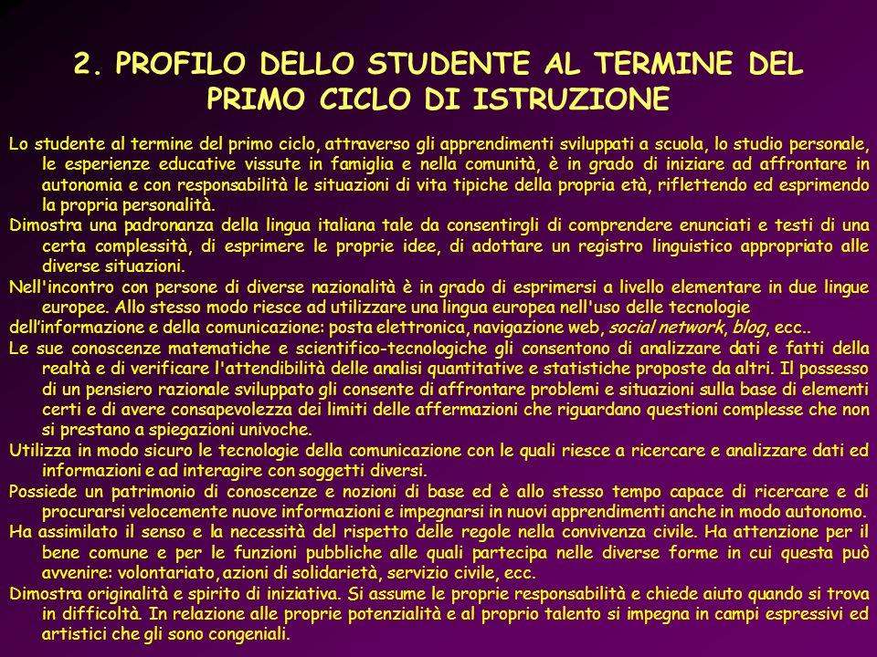 2. PROFILO DELLO STUDENTE AL TERMINE DEL PRIMO CICLO DI ISTRUZIONE