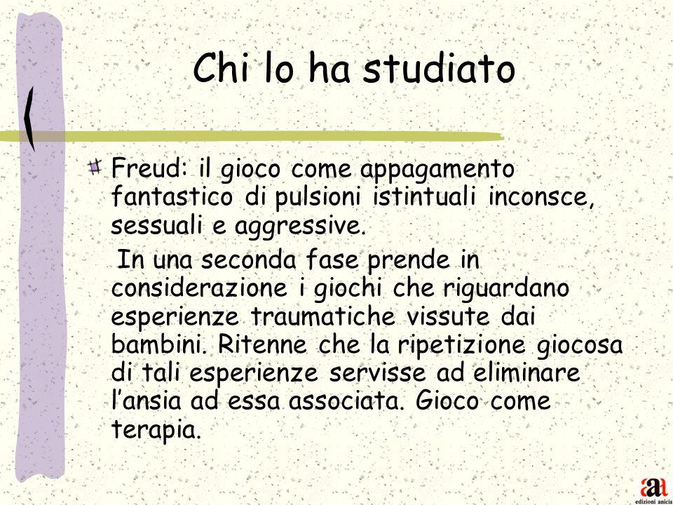 Chi lo ha studiato Freud: il gioco come appagamento fantastico di pulsioni istintuali inconsce, sessuali e aggressive.