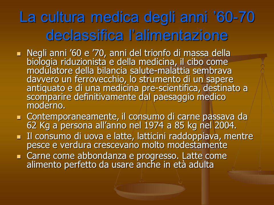 La cultura medica degli anni '60-70 declassifica l'alimentazione