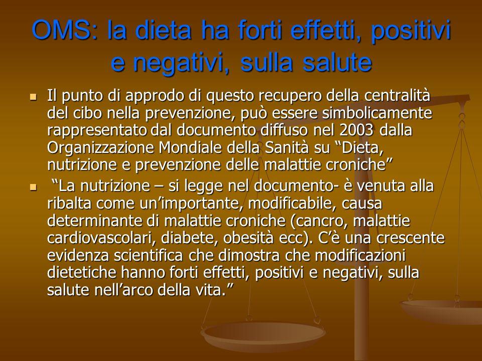 OMS: la dieta ha forti effetti, positivi e negativi, sulla salute