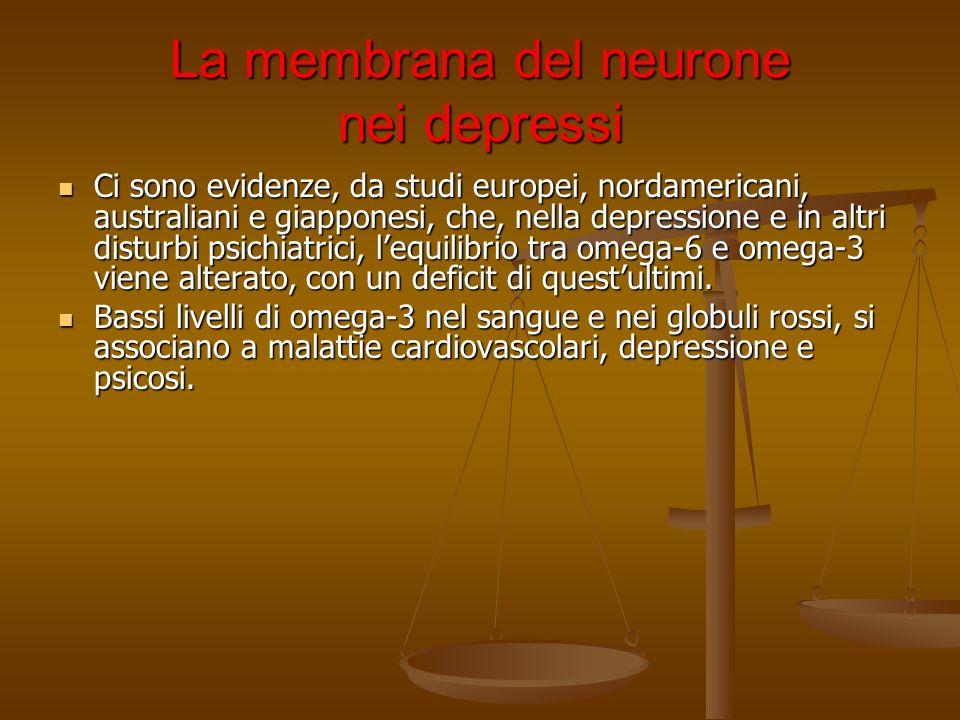 La membrana del neurone nei depressi