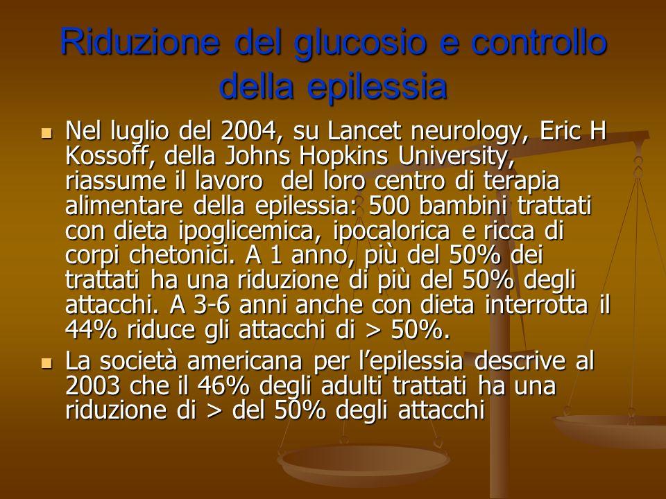 Riduzione del glucosio e controllo della epilessia