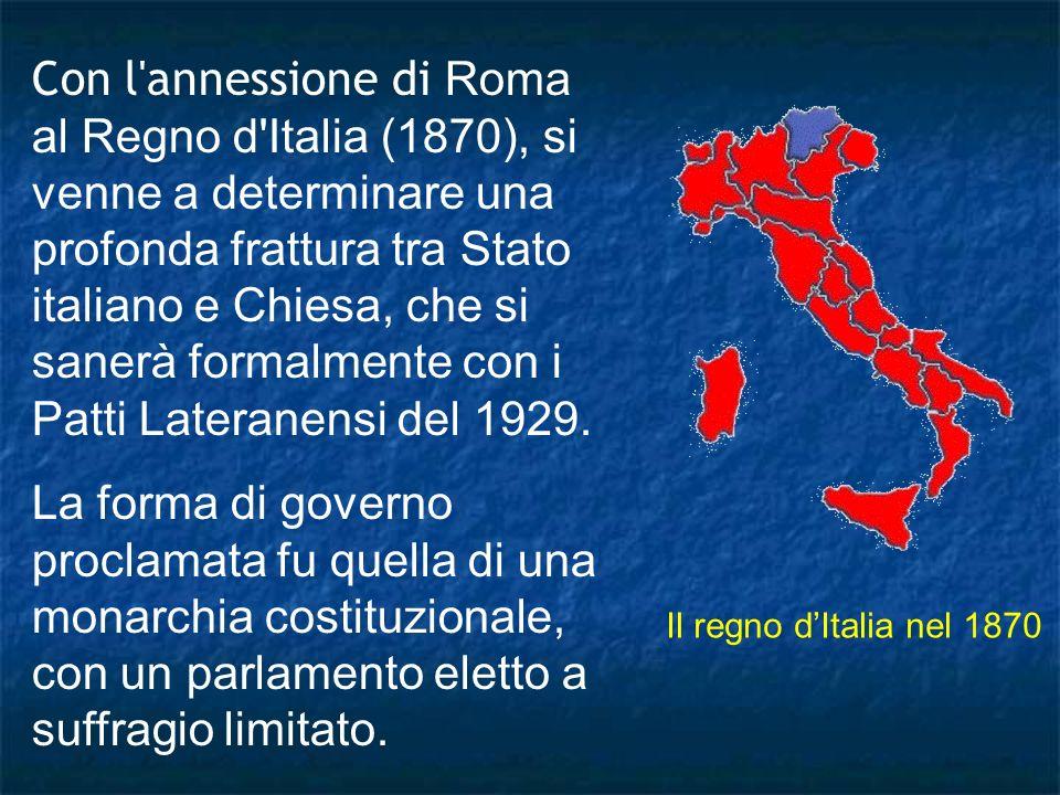Con l annessione di Roma al Regno d Italia (1870), si venne a determinare una profonda frattura tra Stato italiano e Chiesa, che si sanerà formalmente con i Patti Lateranensi del 1929.