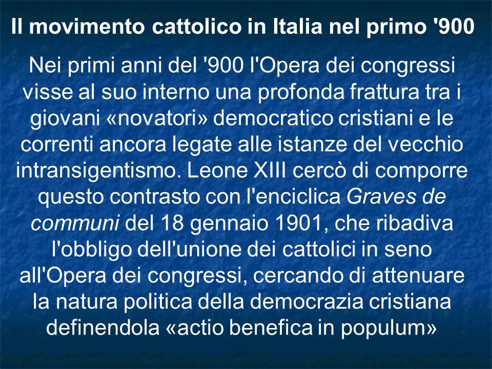 Il movimento cattolico in Italia nel primo 900